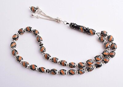 Islamic Prayer Beads-Worry Beads-Black coral, sterling silver& Amber inlay