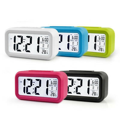 Bedside Digital LED Snooze Alarm Clock Large Display LCD Electronic Night Glow