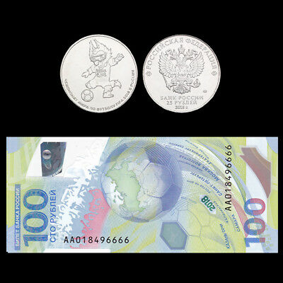 RUSSIA SET 2, COIN+Polymer note, 25+100 Ruble, 2018 FOOTBALL FIFA WORLD CUP, UNC