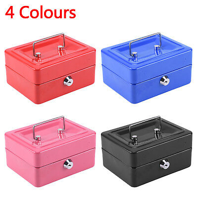 "6"" inch Small Key Lock Petty Cash / Piggy Bank Money Box Pot Safe Pink Lockable"