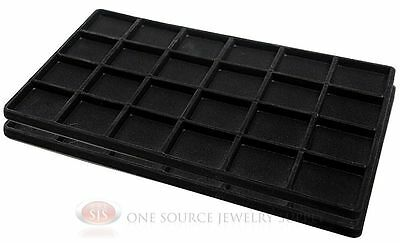2 Black Insert Tray Liners W/ 24 Compartments Drawer Organizer Jewelry Displays