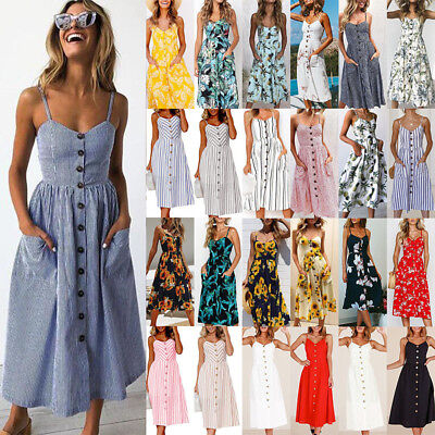 Womens Holiday Strappy Button Pocket Sundress Summer Beach Boho Midi Swing Dress
