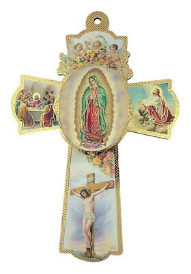 Our Lady of Guadalupe with Cherub Angels Wooden Wall Cross Crucifix, 6 Inch