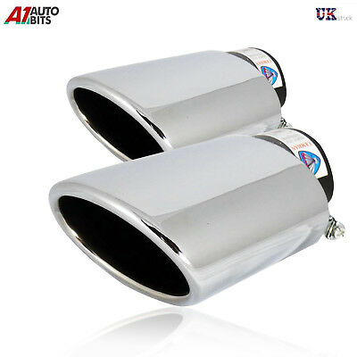 Universal Sport Chrome Twin  Exhaust Tail Tip Muffler Pipe Pipes Trim New 427