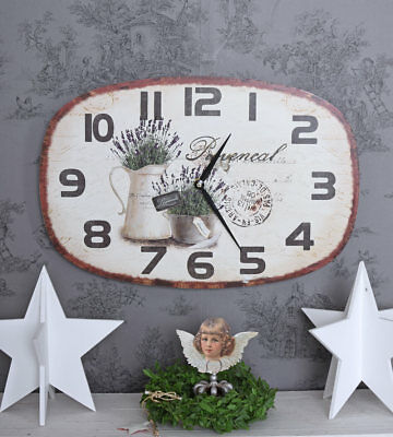 Wall Clock Retro Shabby Chic Kitchen Timer Lavender Deco Country Style