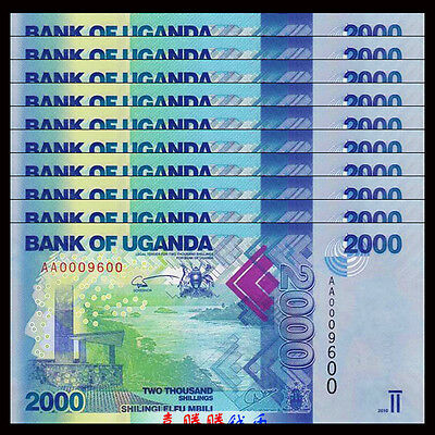 Lot 10 PCS, Uganda 2000 (2,000) Shillings, 2013-2015, P-50, banknote, UNC