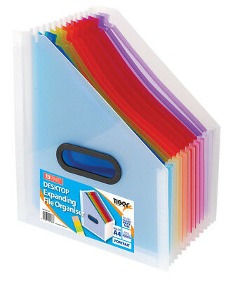 A4 Portrait Coloured 13 Part Desk Top Expanding File Oraganiser Box File 302186