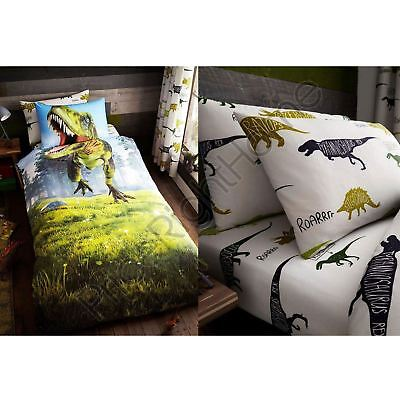Dino T-Rex Dinosaur Bedding - Single Duvet Cover Set, Fitted Sheet & Pillowcase
