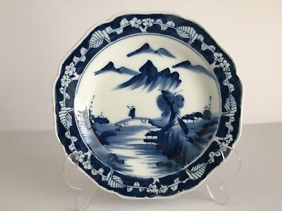 Vintage Japanese Porcelain BLUE and White Plate Man on Bridge Mountain 7 1/8""