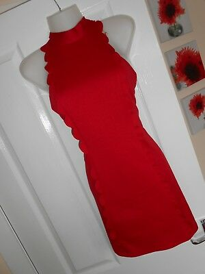**stunning** Jane Norman Size 14 Red Frill Trim A Line Dress *fast Postage**