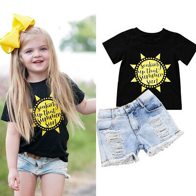 Kids Baby Girls Outfits Clothes T-shirt Tops+Ripped Jeans Pants Shorts 2PCS Set