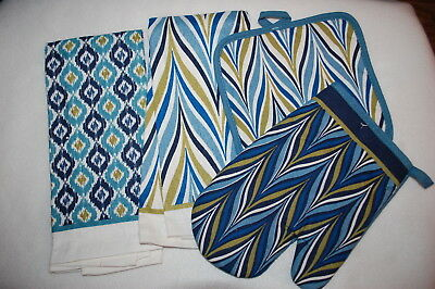 Kitchen Set 2 TOWELS, OVEN MITT, HOT PAD Blue Green Abstract Zig Zag Squares