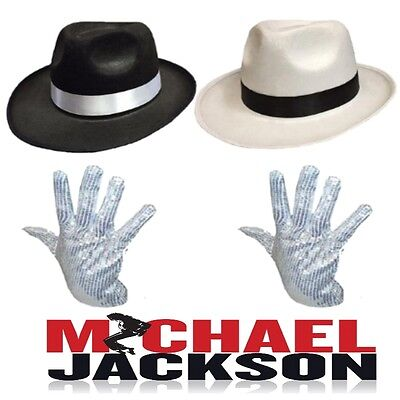Michael Jackson Smooth Criminal Hat & Sequin Glove Pop Music Fancy Dress