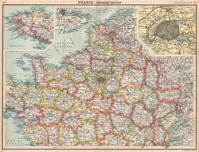 NORTHERN FRANCE.Departements.Paris showing fortifications.BARTHOLOMEW 1912 map