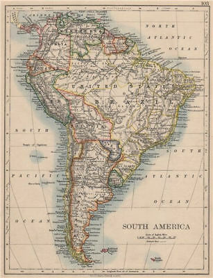 SOUTH AMERICA. Bolivia includes Acre, now in Brazil. JOHNSTON 1895 old map