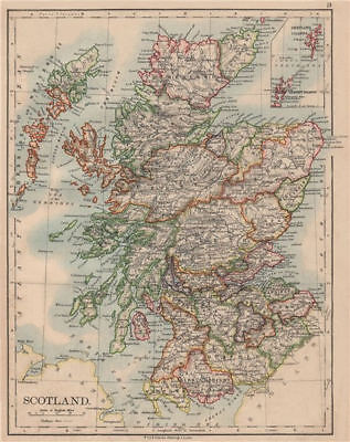 SCOTLAND. Counties. Undersea telegraph cables. JOHNSTON 1895 old antique map