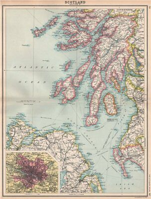 SCOTLAND SW. Argyll Ayrshire Wigtownshire Mull Arran Jura Islay Kintyre 1912 map