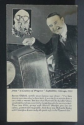 1933 postcard... Race driver BARNEY OLDFIELD & Plymouth  @ Chicago Exposition