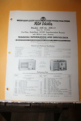 Vintage 1940 RCA Victor Model 45X-16 17 Radio Receiver Service Data Manual Rare