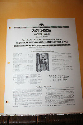 Vintage 1940 RCA Victor Model 110-K Receiver Radio Service Data Rare Manual