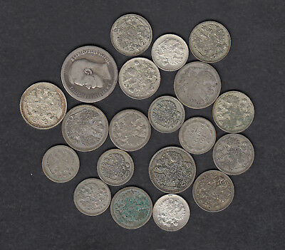 1872-1915 Russia Silver Coins Lot Of 20