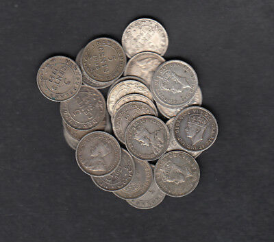 1903-47 Canada New Foundland 5 Cents Silver Coins Lot Of 25