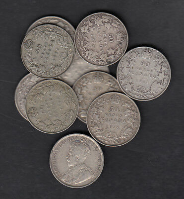 1911-36 Canada 50 Cents Silver Coin Lot Of 10