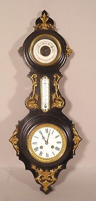 Antique Bronze Mounted Ebonized Victorian Wall clock w Thermometer and Barometer