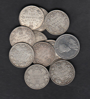 1911-36 Canada 25 Cents Silver Coin Lot Of 12
