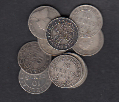 1903-47 Canada New Foundland 10 Cents Silver Coins Lot Of 10