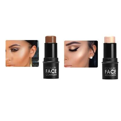 2Color Highlight Contouring Stick Beauty Face Powder Cream Shimmer Concealer