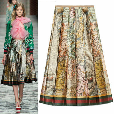 22c7f89725 40 NEW $4200 GUCCI RUNWAY Vintage SEA MAP 100% silk SATIN A Frame PLEATED  SKIRT