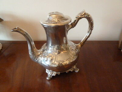 Antique ornate 'Sheffield Electro Plate' teapot with damaged lid