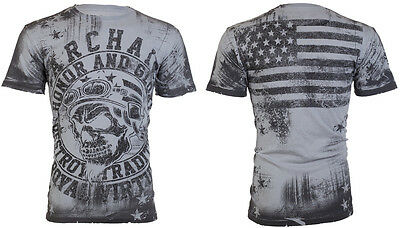 ARCHAIC by AFFLICTION Mens T-Shirt RACER American Customs USA FLAG Biker $40 a