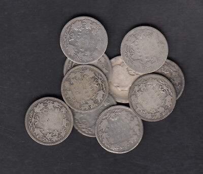 1870-1901 Canada 25 Cents Silver Coin Lot Of 10