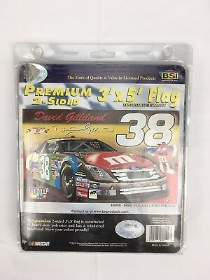 M&M Collectible NASCAR X-Large 3' x 5' 2 Sided Fan Flag David Gilliland 38 Red