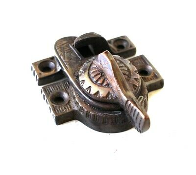 Victorian Window Sash Lock in Bronze Finish Old Style Restoration Hardware Latch