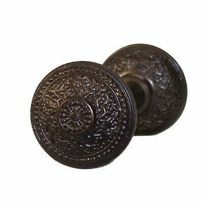 Rice Bronze Finish Vintage Brass Beaded Victorian Arts and Crafts Door Knob Pair