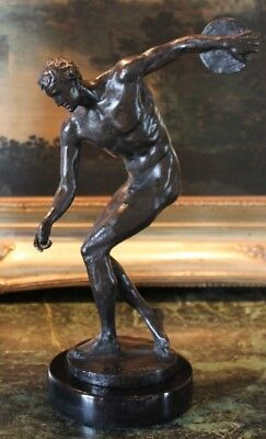 Nude Male Discus Thrower Discobolus Famous Greek Athlete Bronze Marble Statue
