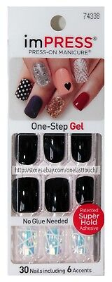 imPRESS* Press-On Manicure KISS IT BETTER 30 Nails BLACK+HOLOGRAPHIC #74338 1a
