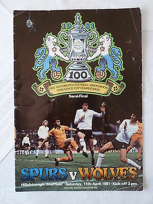 Tottenham v Wolves football programme 1981 FA Cup semi final
