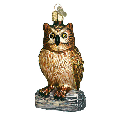 """""""Wise Old Owl""""  (16019)X Old World Christmas Glass Ornament w/OWC Box"""