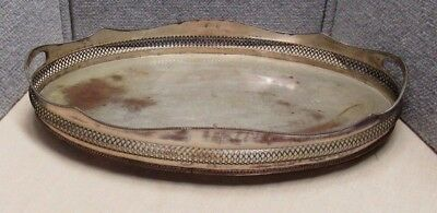 19th C Antique Sheffield Plate Silverplate Large Tray Pierced Gallery Ball Feet