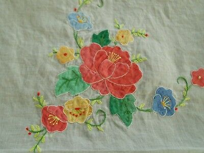 Gorgeous Vintage Hand Embroidered Madeira Sheer Linen Tablecloth With Applique