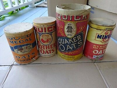 4 diff Old Oat Meal Boxes, Quaker Oats, Gold Medal, Mother Oats, 3 Minute