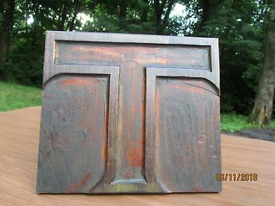 Antique Letterpress Printing Wood Type Extra Large Letters T Outlined 8 x 9 Inch