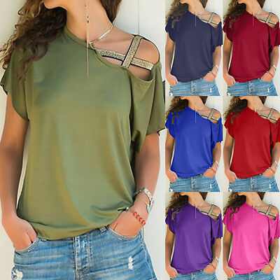 Women Casual Summer Loose Off Shoulder T-Shirt Solid Short Sleeve Tops Blouse US