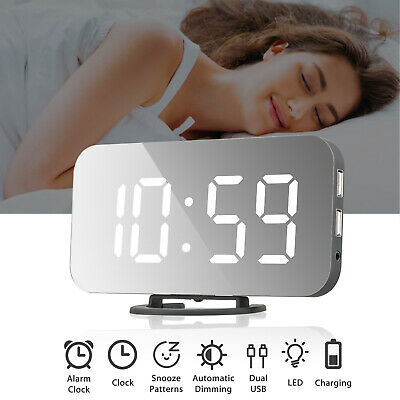 Digital Alarm Clock LED Display Portable Modern USB/Battery Operated Mirror