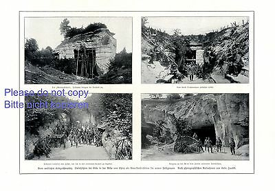 Caves near Ville Chirny 1 page photo images 1915 German soldiers WW 1 France +