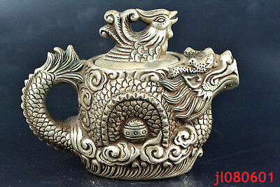 Chinese Collectible Old tibet silver relief dragon PHOENIX rare big Teapot